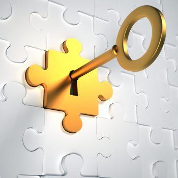 Golden key in lock